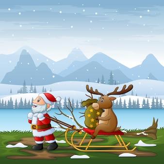 Desenho animado do papai noel puxando uma rena em um trenó em uma paisagem de inverno