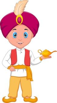 Desenho animado do pequeno aladim segurando sua lâmpada mágica
