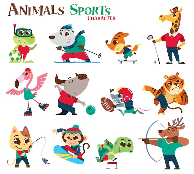 Desenho animado do personagem animals sports