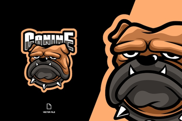 Desenho animado do personagem do logotipo do mascote do bulldog