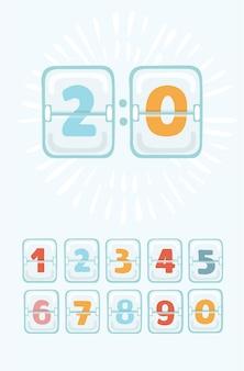 Desenho animado do placar mecânico. calendário colorido com números definidos. painel de relógio analógico. temporizador de contagem regressiva.