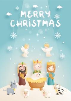 Desenho animado do presépio de natal, com o menino jesus na manjedoura com 3 reis magos, burro e outros animais. religiosa cristã