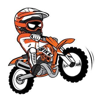Desenho animado do salto da motocicleta de motocross