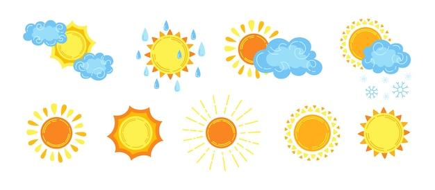 Desenho animado do tempo desenhado à mão com nuvens e sol