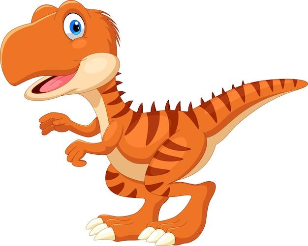 Desenho animado do tiranossauro feliz