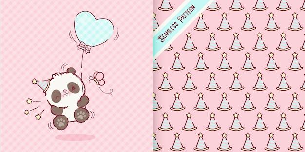 Desenho animado do urso panda bebê brincalhão com vetor premium de padrão de tampa de aniversário