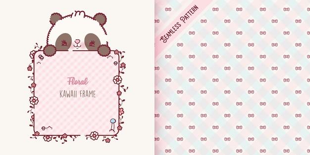 Desenho animado do urso panda bebê brincalhão e padrão de fitas vetor premium