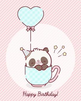 Desenho animado do urso panda bebê brincalhão em um vetor premium de xícara