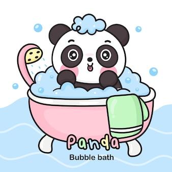 Desenho animado do urso panda fofo tomando banho na banheira banho de espuma logo animal kawaii