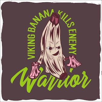 Desenho animado do vetor do guerreiro banana com cara engraçada eps 10