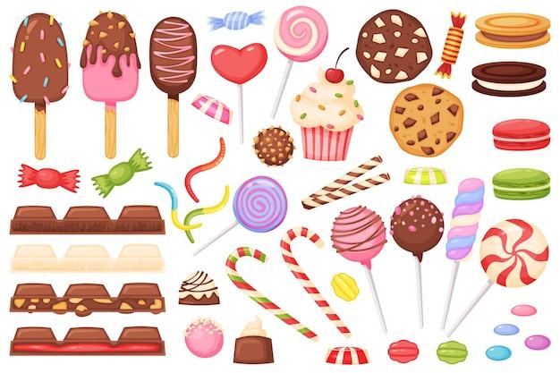 Desenho animado doces doces sobremesas pirulitos chocolate doce cupcake macaron sorvete conjunto de vetores de geleia