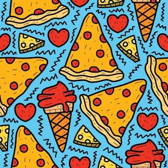 Desenho animado doodle desenho de pizza e sorvete