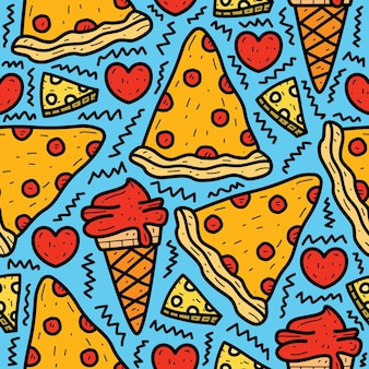 Desenho animado doodle desenho de pizza e sorvete Vetor Premium