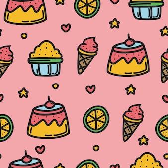Desenho animado doodle desenho padrão de cupcake