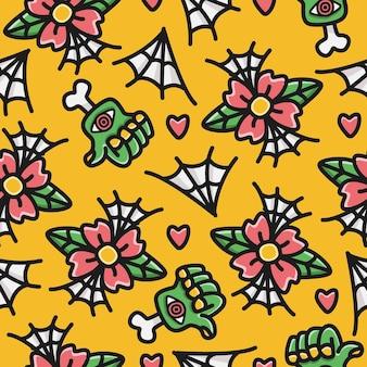 Desenho animado doodle design de padrão web de aranha e flor