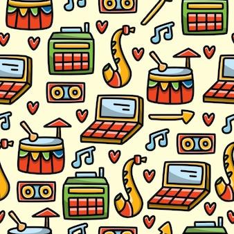 Desenho animado doodle música design padrão sem emenda