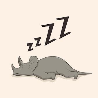 Desenho animado dormindo triceratops de dinossauro preguiçoso