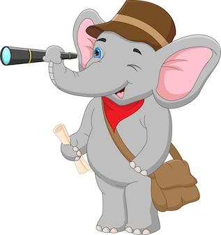 Desenho animado elefante segurando binóculos