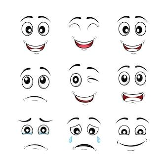Desenho animado enfrenta expressões de personagens com raiva, olhos, boca louca, diversão, esboço, expressões estranhas de desenhos animados em quadrinhos