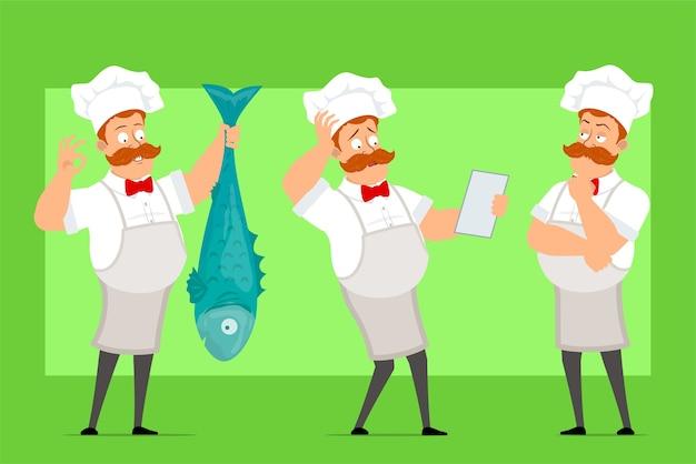 Desenho animado engraçado chef cozinheiro personagem homem com uniforme branco e chapéu de padeiro