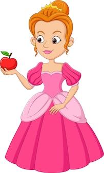 Desenho animado engraçado cinderela segurando maçã vermelha