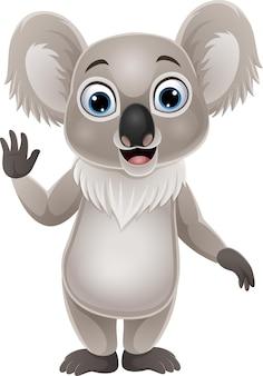 Desenho animado engraçado coala acenando com a mão