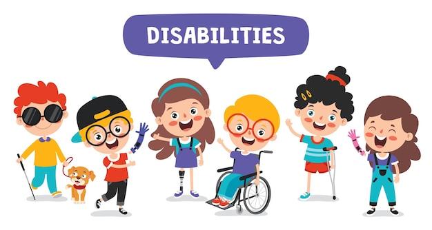 Desenho animado engraçado criança deficiente posando
