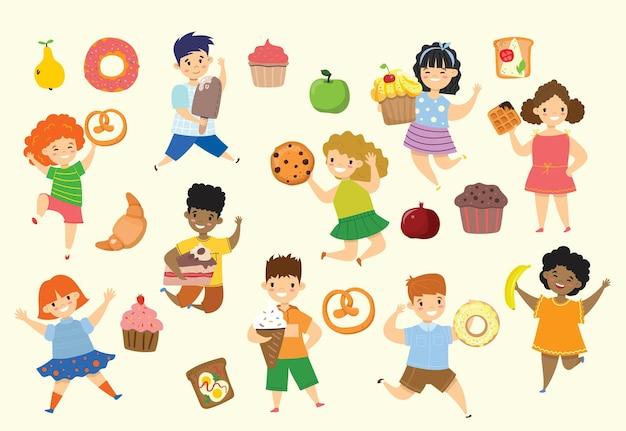 Desenho animado engraçado crianças amigos fast food - coockie, waffle, donut, pretzel, croissant, sorvete no estilo plano