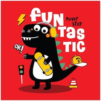 Desenho animado engraçado de dinossauro legal