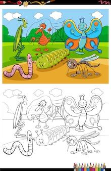 Desenho animado engraçado insetos e insetos grupo para colorir página