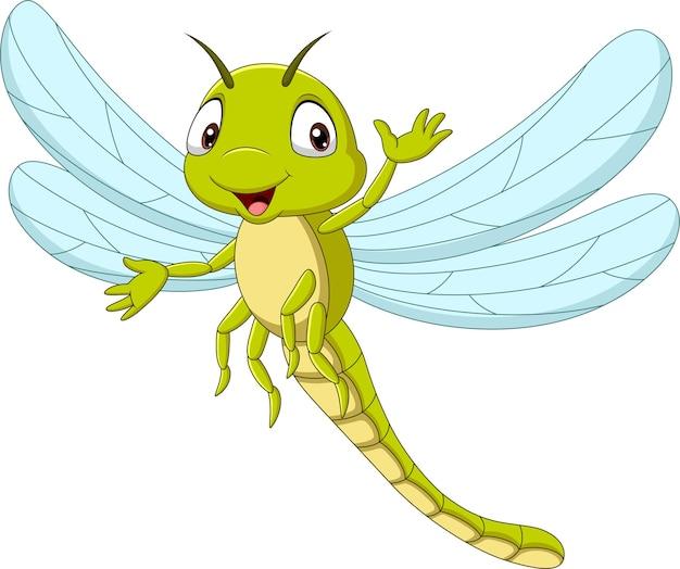 Desenho animado engraçado libélula acenando com a mão