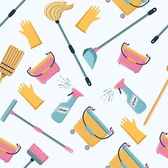 Desenho animado engraçado padrão de ferramentas de limpeza