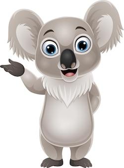 Desenho animado engraçado pequeno coala apresentando