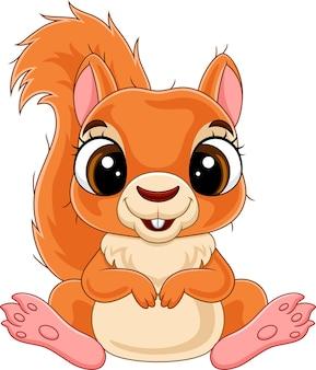 Desenho animado engraçado pequeno esquilo sentado