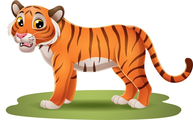 Desenho animado engraçado tigre na grama