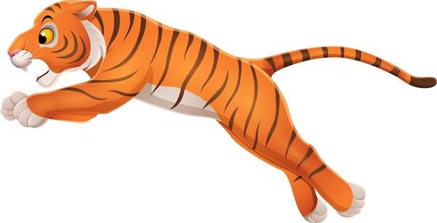 Desenho animado engraçado tigre pulando no branco Vetor Premium
