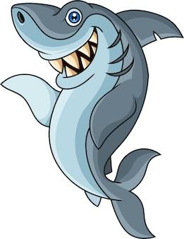 Desenho animado engraçado tubarão acenando com a mão