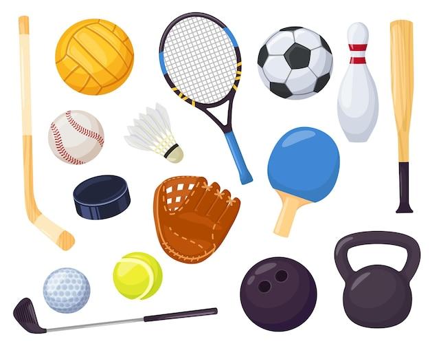 Desenho animado equipamentos esportivos jogos com bola conjunto de vetores taco de hóquei taco de beisebol pino de boliche