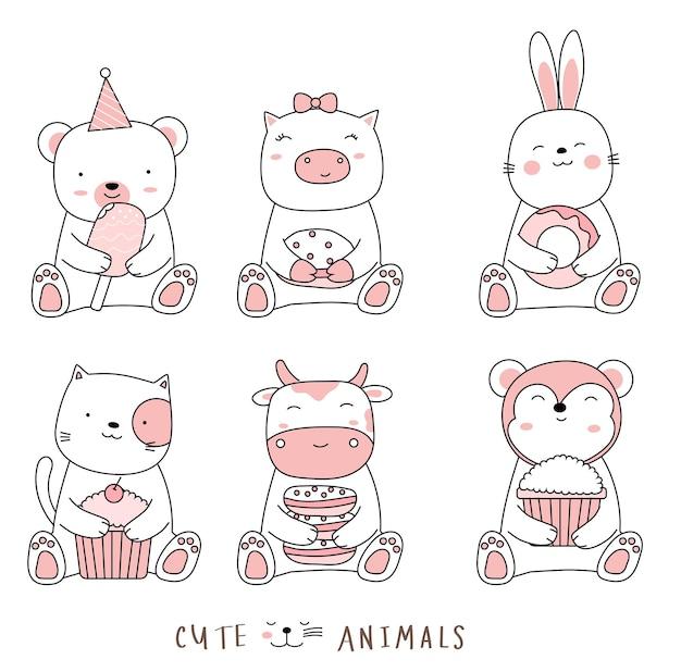 Desenho animado esboçar os animais fofos estilo desenhado à mão Vetor Premium