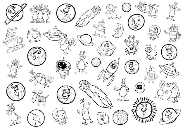 Desenho animado espacial para colorir