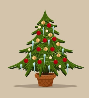 Desenho animado estilizado de abeto com brinquedos árvore de natal em pote decorado bolas de pêlo icecle e guirlanda