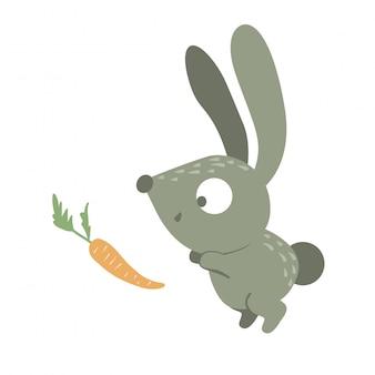 Desenho animado estilo coelho bebê engraçado plana com cenoura isolada no fundo branco. ilustração bonita de animal da floresta. pequeno ícone de lebre para crianças