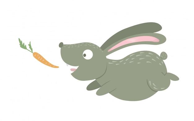 Desenho animado estilo coelho engraçado plana com cenoura isolada no fundo branco. ilustração bonita de animal da floresta. ícone de lebre em execução para crianças