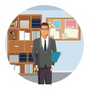 Desenho animado executivo de empresário