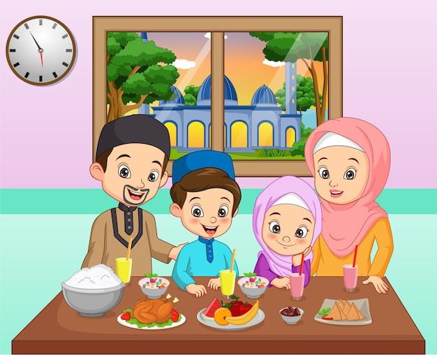 Desenho animado família feliz jantando