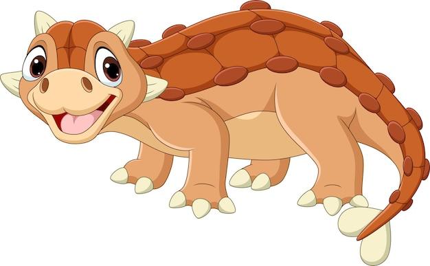 Desenho animado feliz ankylosaurus
