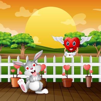 Desenho animado feliz coelhinho recebendo cartas de amor