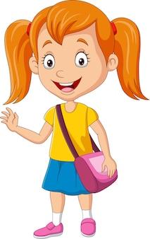 Desenho animado feliz colegial com bolsa