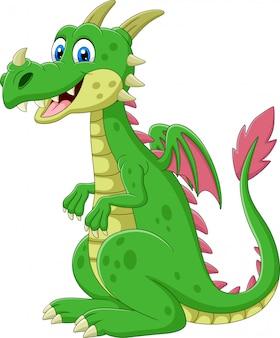 Desenho animado feliz dragão verde sentado
