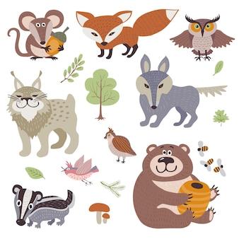 Desenho animado feliz e animais de madeira engraçados na coleção florestal